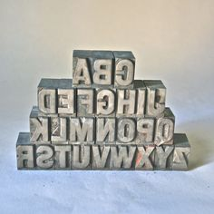 Antique Letterpress Type Large Bold Gothic Alphabet Punctuation Numbers for Printing Stamping Clay Stamping. $75.00, via Etsy.