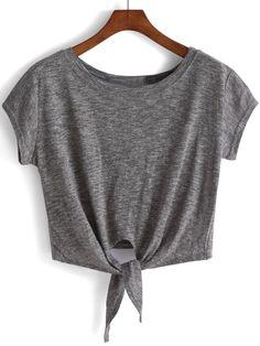 Camiseta anudada crop -gris-Spanish SheIn(Sheinside)