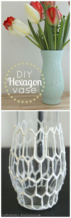 Hexagon Vase tutorial. Turn a thrifted or dollar store vase into a designer vase. Love the texture it adds! #hexagon #craft