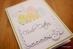 Osterkarte-Ostern-Karte-Ostereier-Korb-Eierkorb-Eier-Ei-niedlich-Schmetterlinge-weiß-lachs-grün-filigran-Perlen-pastell-Frohe-Ostern-Stempel-Gruß-Klappkarte