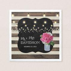 Rustic Mason Jar and Twinkle Lights Wedding Napkin