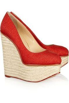 1a497c28ea44 Zeppa di raffia - Vogue.it Red Wedge Heels