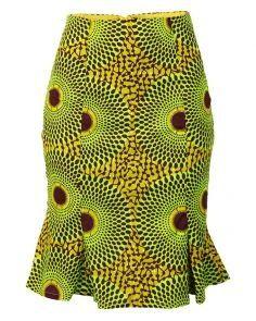 african print dresses African Print Pencil Skirt with Ruffle Hem - Green/Brown African Print Pencil Skirt, African Print Dress Designs, African Print Clothing, Printed Pencil Skirt, Short African Dresses, Latest African Fashion Dresses, African Print Dresses, African Skirt, African Tops