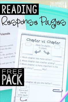 Get a mini-pack of reading response pages by signing up for The Thinker Builder's free email newsletter. 3 unique activities in an engaging half-page notebook format, differentiated at three levels. Perfect for grades Reading Response Journals, Reading Response Activities, Reading Strategies, Reading Skills, Teaching Reading, Literacy Strategies, Reading Resources, Reading Conference, Teacher Resources