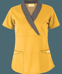 Butter-Soft Scrubs by UA& Shawl Collar Mock Wrap Top .BUT: going to get it in gold. some of my check will be getting scrubs I like and this top is def. Healthcare Uniforms, Medical Uniforms, Work Uniforms, Spa Uniform, Scrubs Uniform, Uniform Dress, Scrubs Outfit, Uniform Design, Medical Scrubs