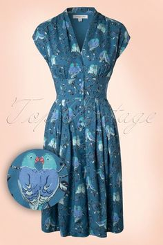 Emily and Fin ~ 50s Esther A Charm of Love Birds Dress in Blue