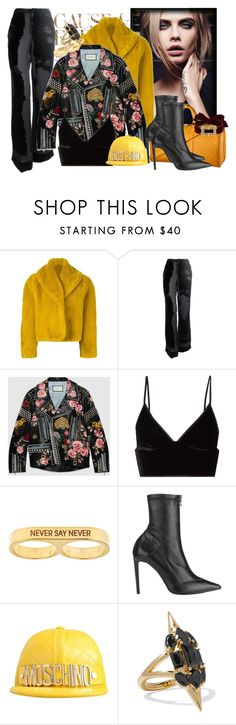 """COOL by francesca"" by fran-guess ❤ liked on Polyvore featuring Envi:, Jean-Paul Gaultier, Gucci, T By Alexander Wang, Louis Vuitton, Beyond Rings, Roland Mouret, Moschino, Noir Jewelry and Fallon"