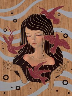 """May There Be"" - Audrey Kawasaki (b. 1982), oil, acrylic, graphite on wood, 2012 {figurative fantasy art female head hands birds woman face portrait painting #noveltechnique} audrey-kawasaki.com"