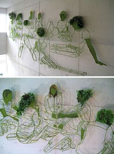 Sculptor Frank Plant has created a large steel and plant based drawing for the wall of a university in the Netherlands.