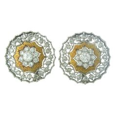 18K WHITE & YELLOW GOLD FULL CUT DIAMONDS - APPROX. 1.26ctw and 40 COUNT ROSE CUT DIAMONDS EARRINGS ARE 23mm IN DIAMETER (INCH=25mm) MARKED:18K,ITALY,BUCCELLATI CLARITY:VS/SI1 COLOR:G/H WEIGHT:12.5 g