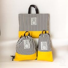 Love the stripes with the yellow Jeans Fabric, School Bags For Kids, Fabric Bags, Shopper, Travel Bags, Bag Accessories, Pouch, Stripes, Tote Bag
