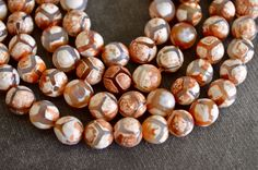 Patterned Agate Stone Beads, Orange Brown and White, 8mm, Gemstone, Heat Treated Agate, 9 Beads, Fancy Patterned Agate by TheBeadBandit on Etsy