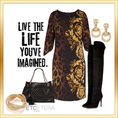 Designer Clothes, Shoes & Bags for Women Animal Print Fashion, Animal Print Dresses, Gold Bangle Bracelet, Gold Bangles, Versace, Trunks, Outfit Ideas, Stylish, Winter
