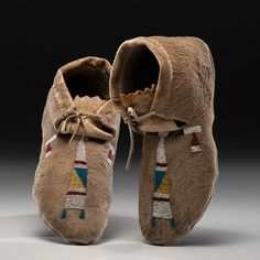 Crow Beaded Hide Moccasins (5/7/2015 - American Indian - Timed Auction ends 5/18)
