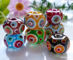 LinaFIRE | Glasperlen Lampwork - Lampwork Glasperle Wechsel-Anhaenger