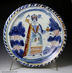 English delftware earthenware blue dash Royalty portrait charger Queen Anne circa 1700 period