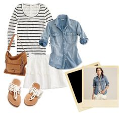 Denim and stripes with lace skirt