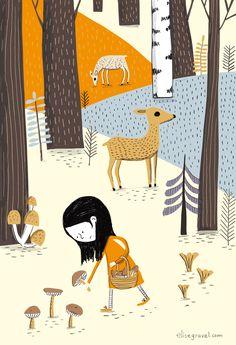 Petite fille aux champignons, a signed art print by Élise Gravel