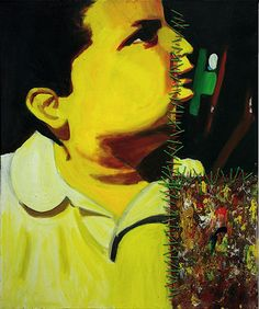 CompArte cada día: Cristina Déniz  // Ausente //   Óleo e hilo sobre lienzo, 2006 //   50 x 50 cm