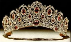 The Bagration Parure Tiara. Made in Russia of Diamonds and Pink Spinel for Catherine Bagration. It was bought by The Duke Of Westminster in the 70's for his bride.