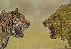 Zentangle tiger and lion - tijger en leeuw