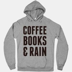 Coffee books & rain! Perfect for a lazy day around the house or at your favorite cafe!  The American Apparel Hoodie is a 100% flex fleeced hooded sweatshirt with an extra-soft interior and a snug fit