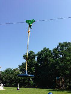 Backyard Zip Line: Zip-Line Build Pics: posts, chain, seat, bumper, steps - All For Garden Zip Line Backyard, Backyard Fort, Backyard Playground, Backyard For Kids, Backyard Projects, Outdoor Projects, Backyard Obstacle Course, Playground Ideas, Kids Outdoor Play