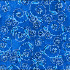 P & B Textiles House Designer - True Blue - Vines in Blue