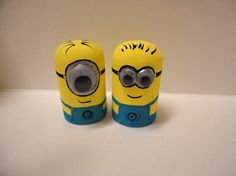 TWO Despicable Me Minon Peg Dolls by scrambledpegs on Etsy