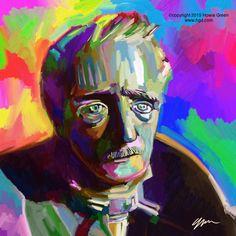 Boston Egdar Allen Poe statue Pop Art painting by Howie Green www.hgd.com
