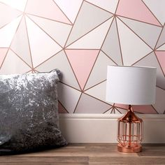 A wide range of Wallpaper available to buy today at Dunelm, the UK's largest homewares and soft furnishings store. Bedroom Wall Designs, Room Ideas Bedroom, Bedroom Wallpaper Designs, Wallpaper For House, Modern Wallpaper Designs, Interior Wallpaper, Girls Room Paint, Girl Room, Geometric Wall Paint