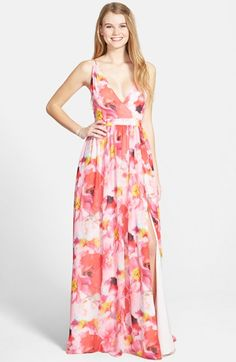 I like the silhouette and bodice...sewing inspiration... Aidan by Aidan Mattox Flower Print Chiffon Gown #Nordstrom