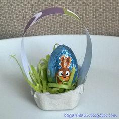 Easter mini basket Diy Crafts How To Make, Snow Globes, Egg, Basket, Mini, Home Decor, Eggs, Decoration Home, Room Decor