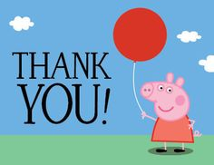 Peppa Pig Birthday Party Thank You Card Pig Party, Cupcake Party, Baby Party, Birthday Party Invitations, Birthday Cards, Pig Birthday, Cumple Peppa Pig, Fall Birthday Parties, Birthday Ideas