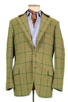RUBINACCI LH Hand Made Bespoke Green Wool Tweed Hunting Jacket 58 NEW US 48 XXXL