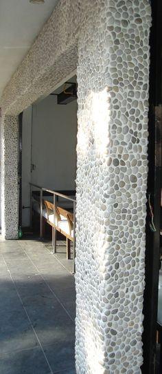river rock tile on column     installation detail