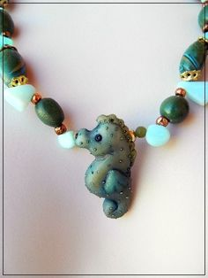 Caribbean Seahorse Polymer Clay and Peruvian Opal  Necklace and Earrin | DragonflySerenade - Jewelry on ArtFire