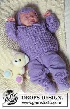 Rocking in Lavender / DROPS Baby - Free knitting patterns by DROPS Design DROPS set with sweater, pants, hat and socks in BabyMerino. Blanket in karisma. Always wanted to be able to knit, althou. Baby Knitting Patterns, Free Baby Patterns, Knitting Designs, Crochet Patterns, Knit Baby Pants, Knitted Baby Clothes, Baby Cardigan, Baby Leggings, Knitting For Charity