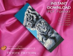 SALE 15% OFF - Peyote Pattern Bracelet Cuff Beading Miyuki Delica Size 11 Beads - PDF Download - Tigers In The Snow