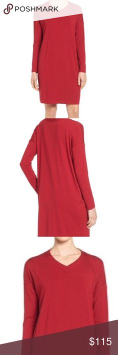 • Eileen Fisher • Red Jersey Dress • Size Medium Eileen Fisher Red Dress Size Medium Stretch Viscose Jersey V Neck Tunic M New NWT Retails for $178 Eileen Fisher Dresses