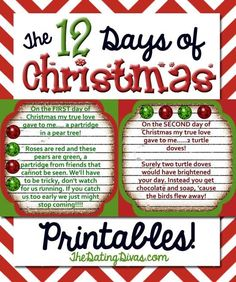 Everything your family needs to gift a fabulous Christmas countdown to someone for FREE! You get the riddles, number tags, and a shopping list to boot!  www.TheDatingDivas.com #christmas #christmasprintable #12daysofchristmas
