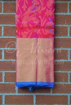 Pink Kuppadam Pure Pattu Saree with Parrots/Floral Pattern all over - Aliveni  - 1