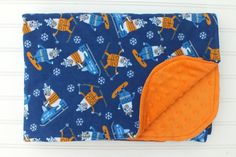 Flannel and Minky Baby Blanket Snowmobile and by BlackKatStudio