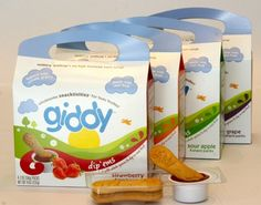 giddy dip'ems come in four flavors: strawberry, grape, sour apple and tropical