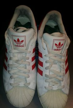 ADIDAS Men's Superstar Shell Toe Canvas Red/White Athletic Sneakers Size 11 1/2 #adidas #AthleticSneakers
