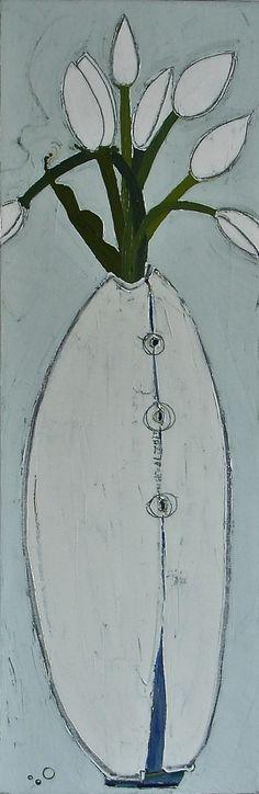 """Seaside Tulips by Karen Tusinski, 36x12"""", oil"""