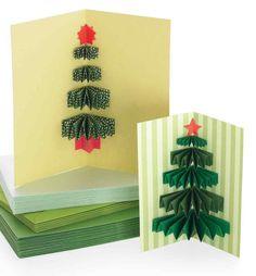 interessante Weihnachtskarte mit Christbaum aus gefaltenem Papier