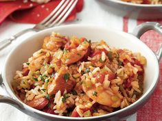 Chicken and Shrimp Jambalaya | Get ready to serve a crowd! Baguette pieces continue the French-Cajun theme.
