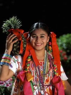 Photographic Print: Colorful Dancer, Tourism in Oaxaca, Mexico by Bill Bachmann : Chicano Tattoos, Mexican Outfit, Aztec Art, Tropical Art, Felt Fabric, World Cultures, Cute Hairstyles, Tourism, Dancer