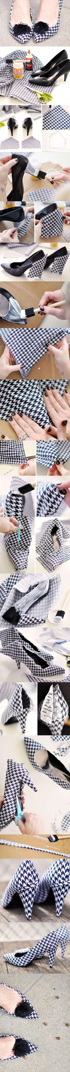 DIY Houndstooth Pumps